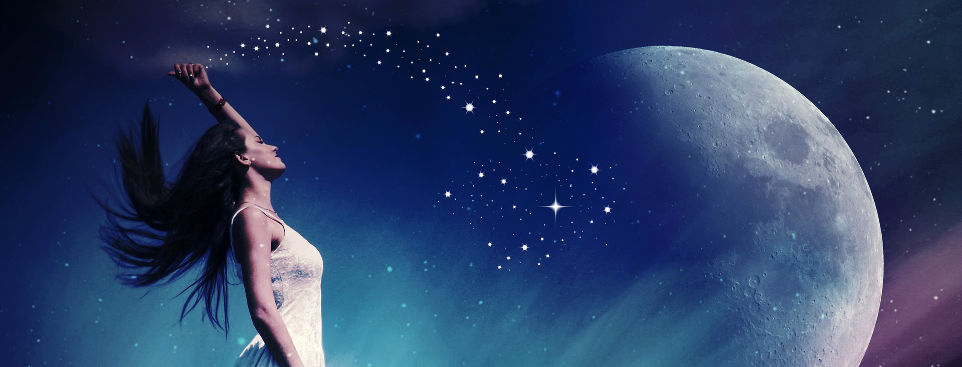 Woman scattering stars to the moon
